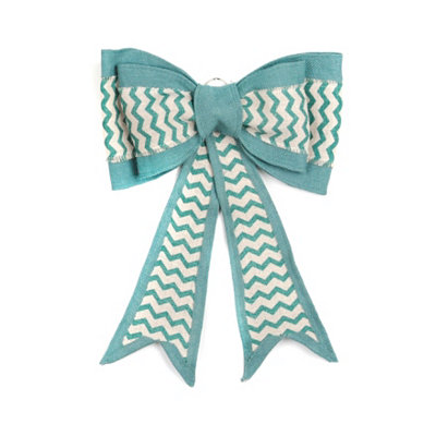 Blue Chevron Burlap Door Bow