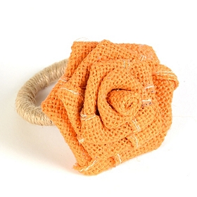 Orange Burlap Rosette Napkin Ring