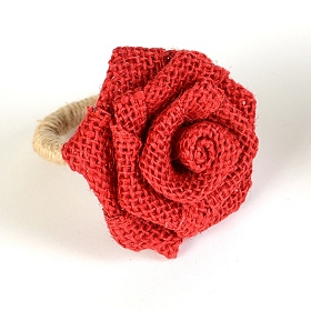 Red Burlap Rosette Napkin Ring