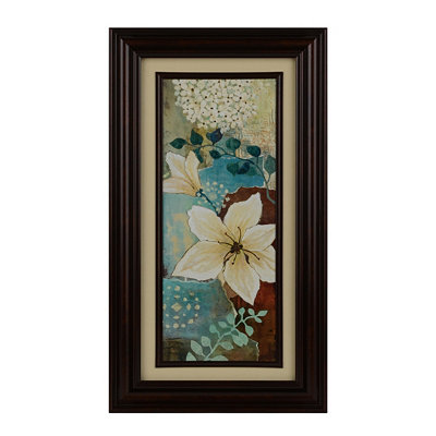 Blue & Cream Fleurs I Framed Art Print