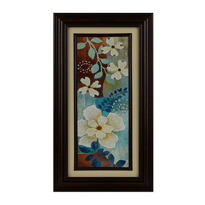 Blue & Cream Fleurs II Framed Art Print