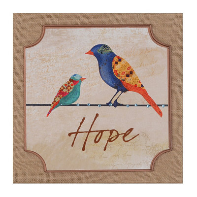 Patchwork Bird Hope Burlap Plaque