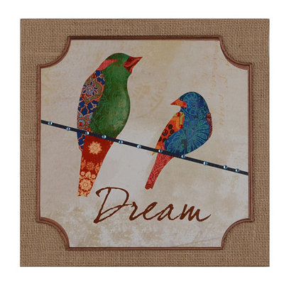 Patchwork Bird Dream Burlap Plaque