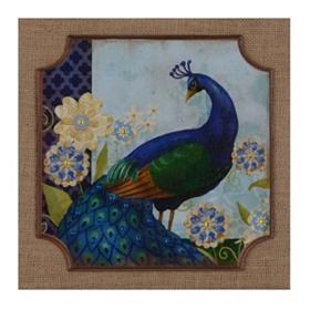 Peacock Tales I Burlap Plaque