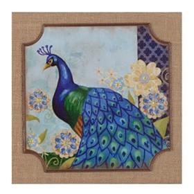 Peacock Tales II Burlap Plaque