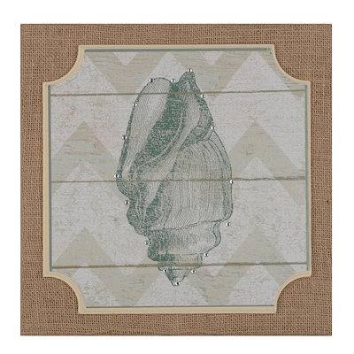 Chevron Seashell I Burlap Plaque