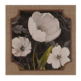 Black & White Tulips I Burlap Plaque