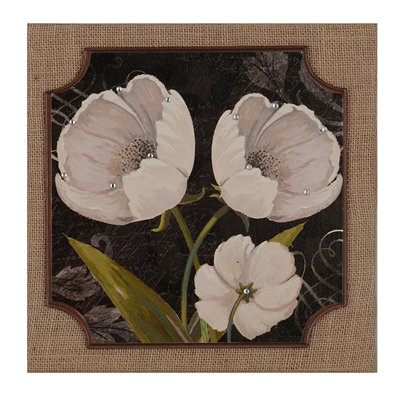 Black & White Tulips II Burlap Plaque