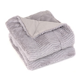 Silver Lilac Faux Fur Chevron Throw Blanket