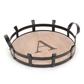 Round Monogram A Wood and Metal Tray