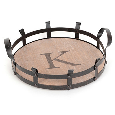 Round Monogram K Wood and Metal Tray