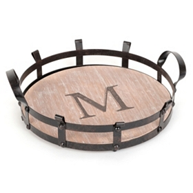 Round Monogram M Wood and Metal Tray