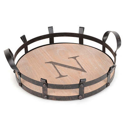 Round Monogram N Wood and Metal Tray