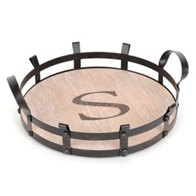 Round Monogram S Wood and Metal Tray