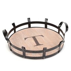 Round Monogram T Wood and Metal Tray