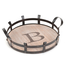 Round Monogram B Wood and Metal Tray