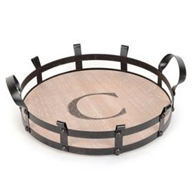 Round Monogram C Wood and Metal Tray