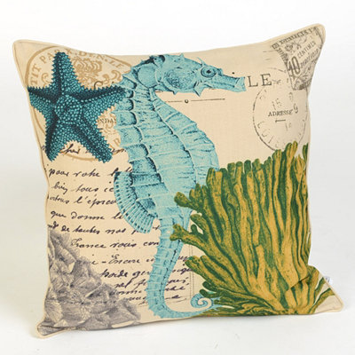 Coastal-Themed Seahorse Throw Pillow