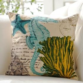 Coastal-Themed Seahorse Throw Pillow