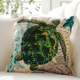 Blue and Green French-Themed Turtle Pillow