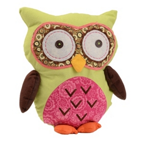 Pink & Green Owl Pillow