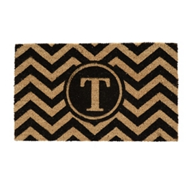 Chevron Monogram T Doormat