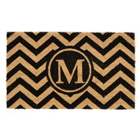 Chevron Monogram M Doormat