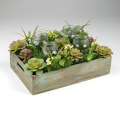 Succulent Mason Jar Candle Holder Arrangement
