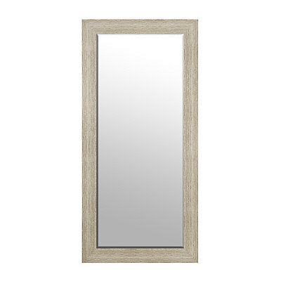 Textured Distressed White Framed Mirror, 31x65
