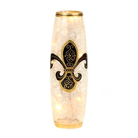 Black and Gold Fleur-de-lis Pre-Lit Hurricane