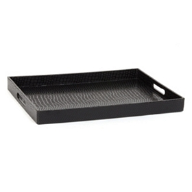 Black Embossed Croc Tray