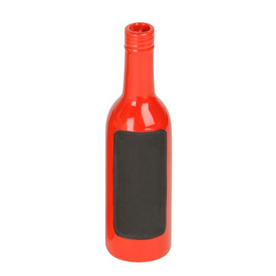 Red Ceramic Chalkboard Bottle