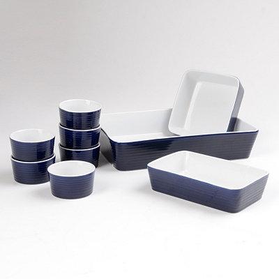 Blue Stoneware Baking Dishes, Set of 9