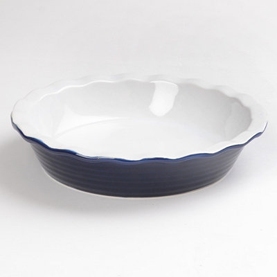 Blue Stoneware Ring Pie Plate, 10.25 in.