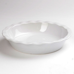 White Stoneware Ring Pie Plate, 10.25 in.