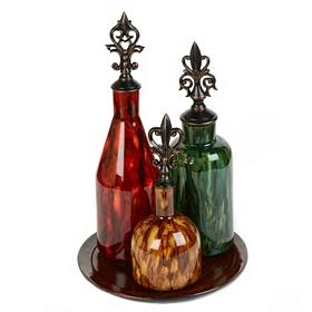 Marbled Glass Bottles, Set of 3