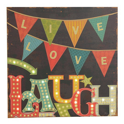 Live Laugh Love LED Canvas Art Print