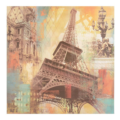 Eiffel Tower Collage Canvas Art Print