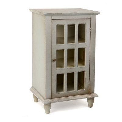Antiqued Blue Gray Window Pane Side Table