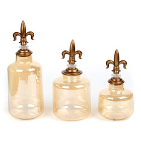 Amber Glass Fleur-de-Lis Jars, Set of 3
