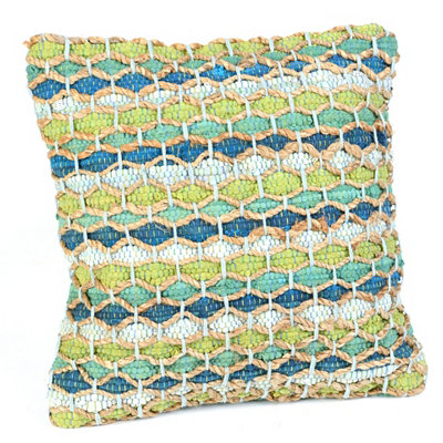 Blue & Green Chindi Throw Pillow