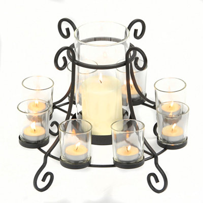 Black Metal Candle Holder Centerpiece