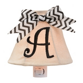 Burlap Bow Monogram A Night Light