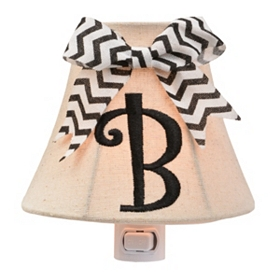 Burlap Bow Monogram B Night Light