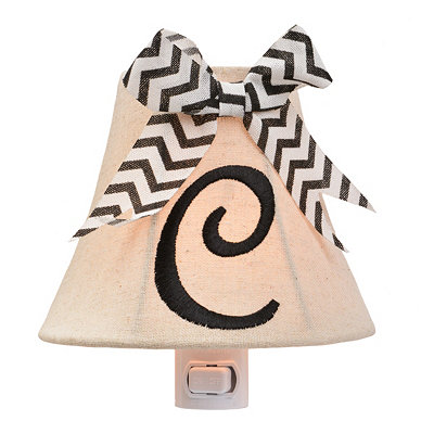 Burlap Bow Monogram C Night Light