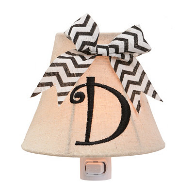 Burlap Bow Monogram D Night Light