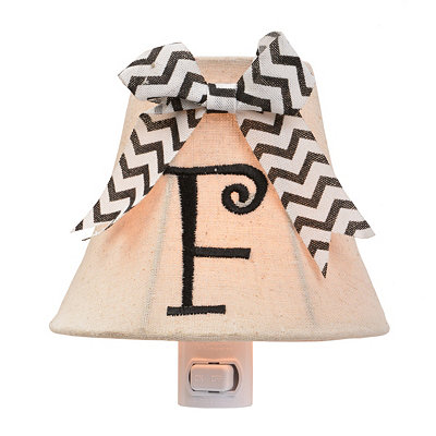 Burlap Bow Monogram F Night Light