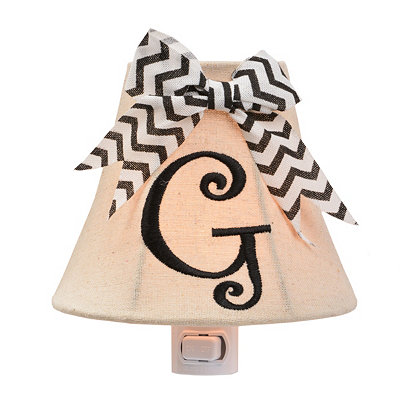 Burlap Bow Monogram G Night Light