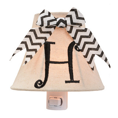 Burlap Bow Monogram H Night Light