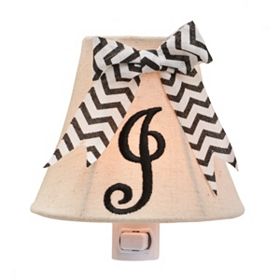 Burlap Bow Monogram J Night Light